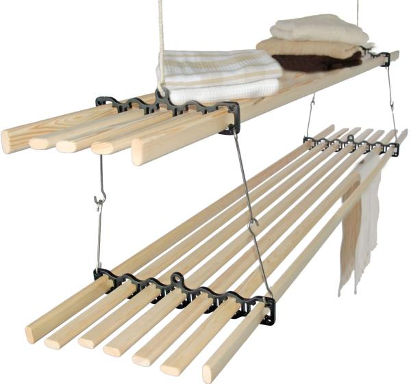 The Stacker Gismo Ceiling Clothes Airer is cast iron and wood