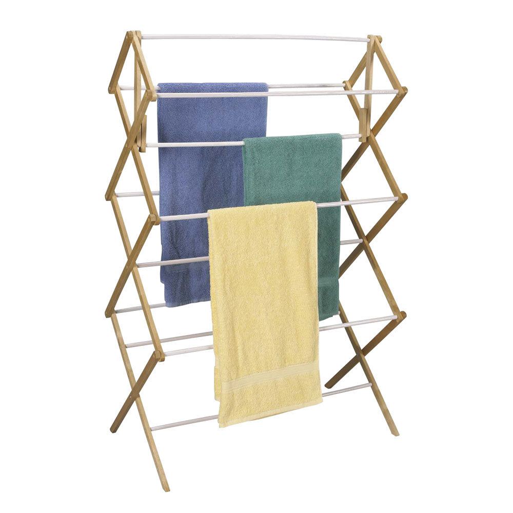 household essentials indoor clothes dryer accordion mega drying rack in wood vinyl urban. Black Bedroom Furniture Sets. Home Design Ideas