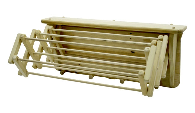 Wall Mounted Wooden Expandable Clothes Drying Rack Urban