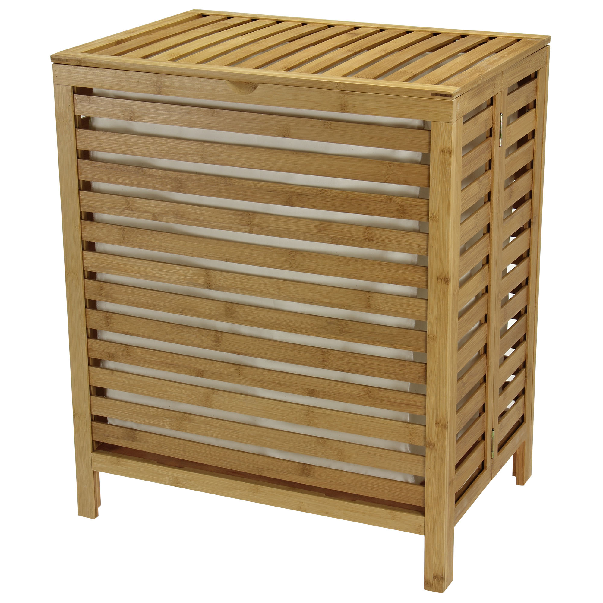 Natural Bamboo Open-Slat Hamper