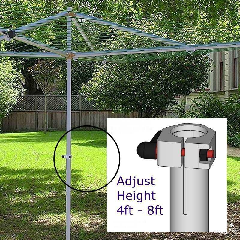 Breezecatcher Adjustable 230ft Top-Spinner Rotary with 4-Arm Clothesline Dryer