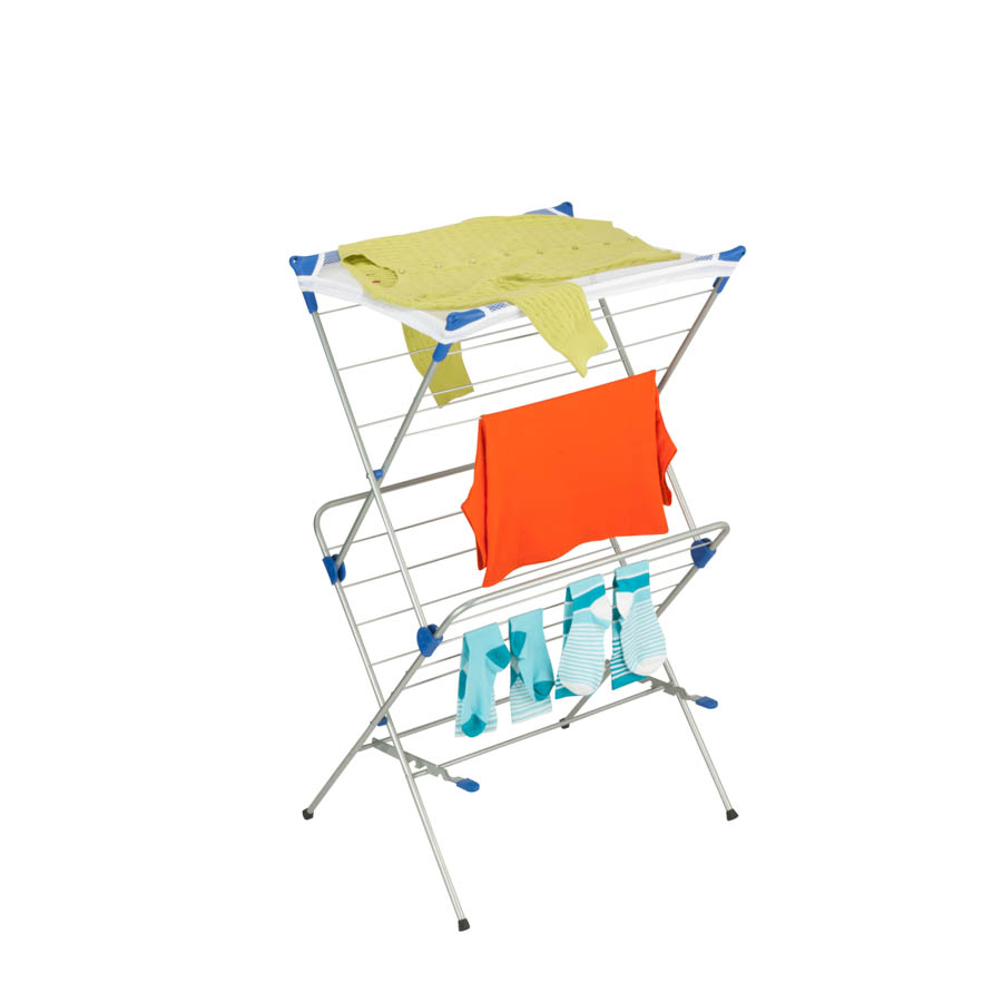 2-tier Mesh Top Drying Rack, Silver with Blue