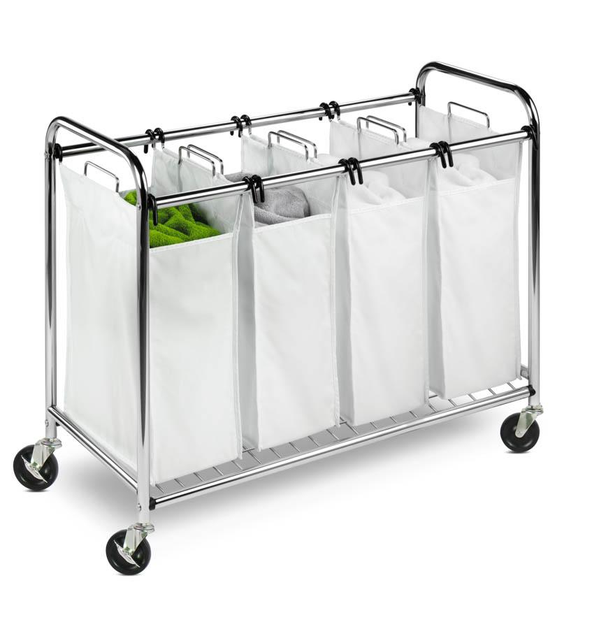 Chrome Heavy-Duty Quad Laundry Sorter