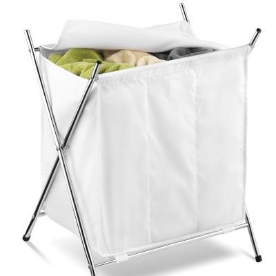 Laundry Hamper - Chrome X Frame 3 Bin