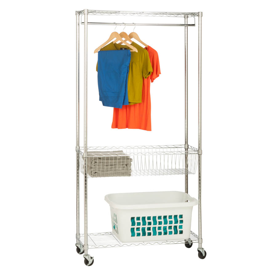 Chrome Rolling Laundry Station