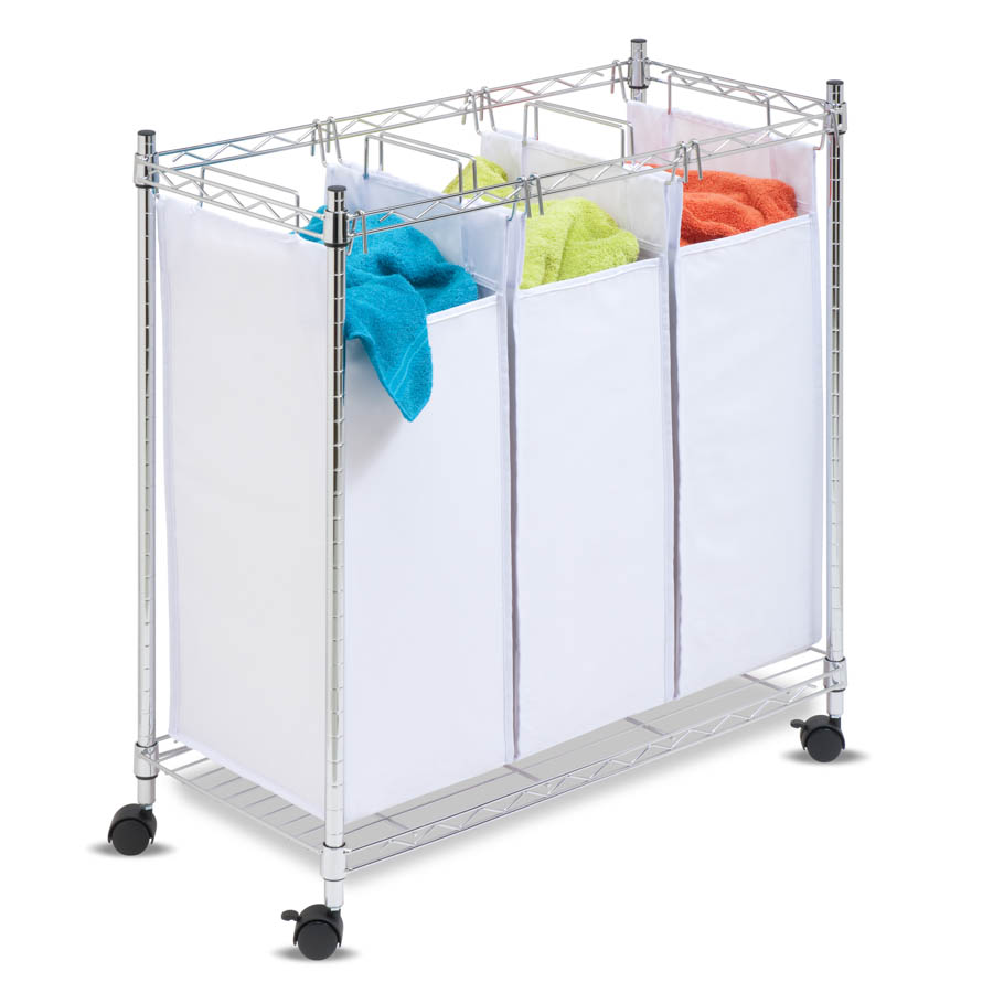 Chrome Rolling Urban Triple Sorter, White/Chrome
