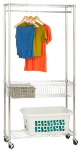 Chrome Rolling Laundry Station with closet rail and two shelves