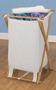 Fir Wood Hamper with Poly Cotton Bag
