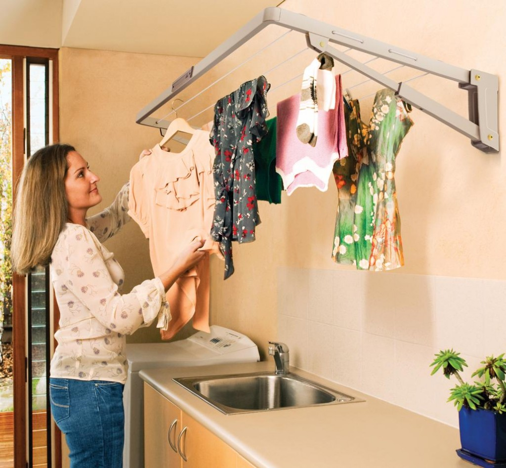 Hills Supa Fold Mini Folding Frame Clothesline is wall-mounted and collapses between uses