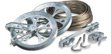Heavy duty wire clothesline and pulleys kit