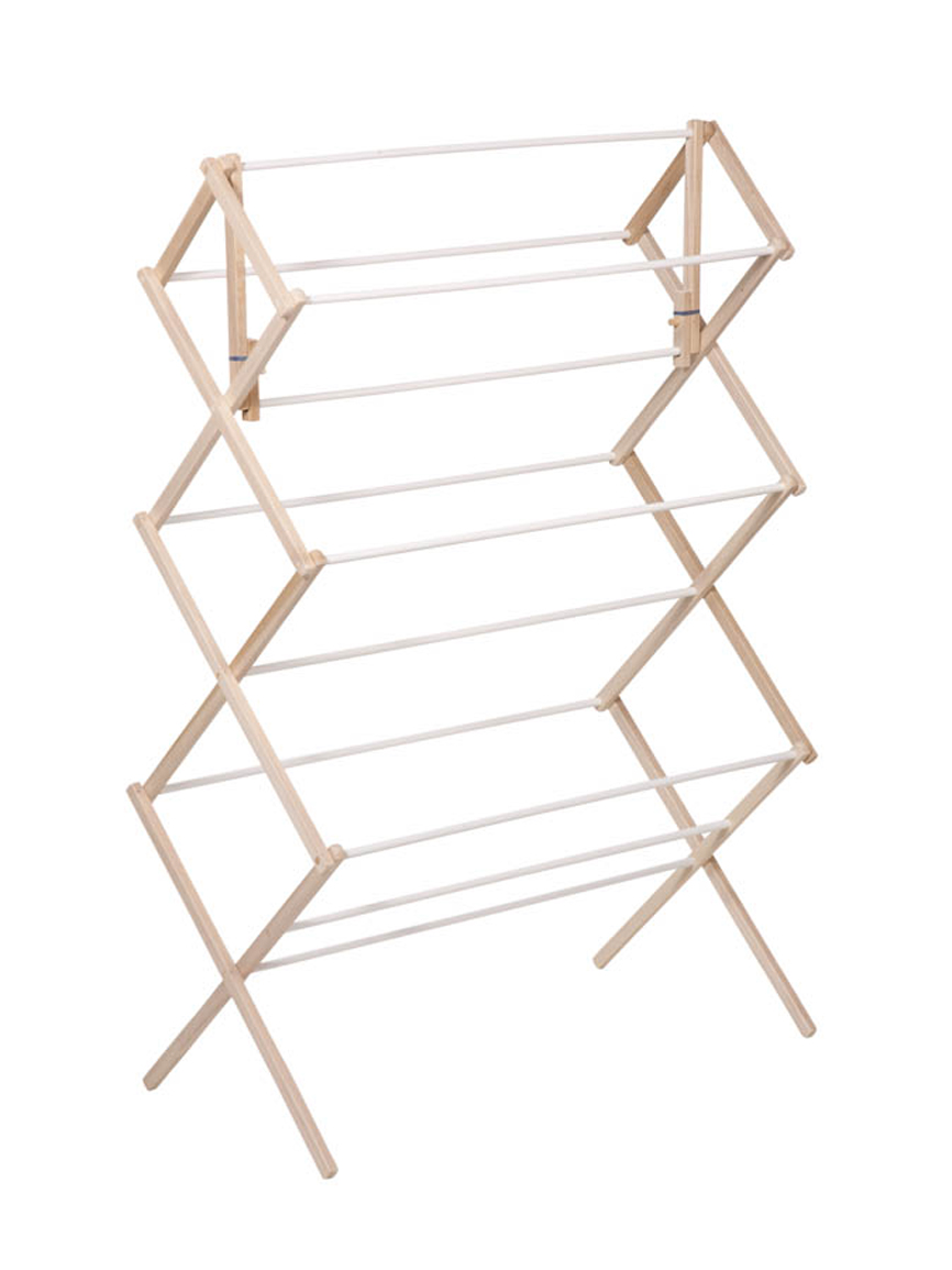 Accordion Style Wood Drying Rack White Natural Urban