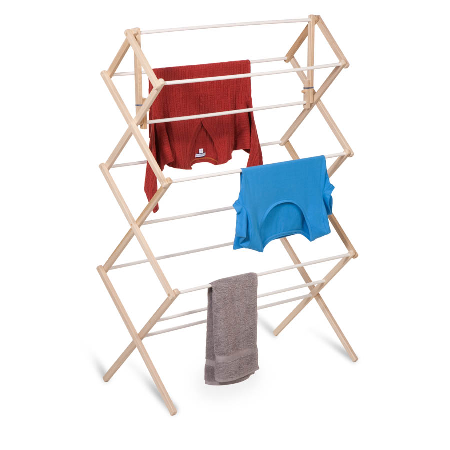 Accordion-Style Wood Drying Rack, White/Natural