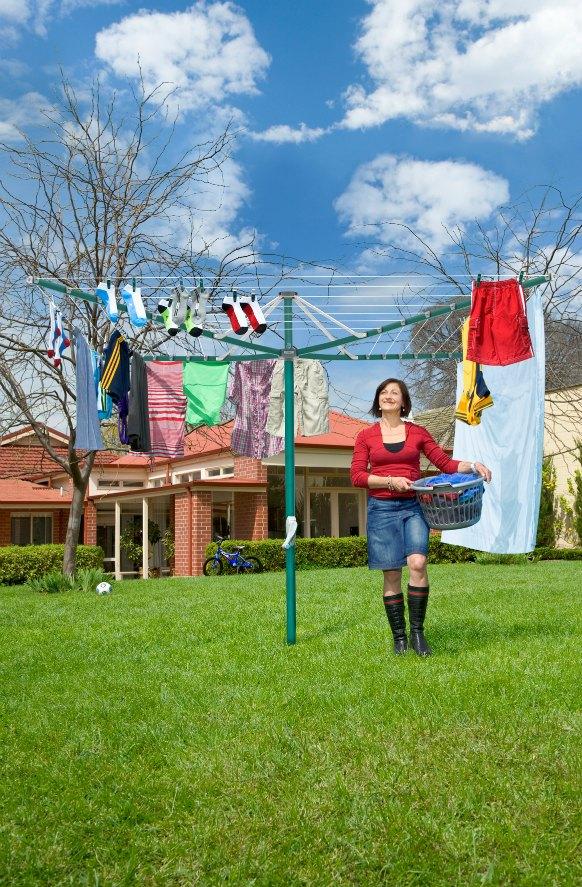 Hills Rotary 7 Umbrella Clothesline - Norfolk Pine (Dark Green)