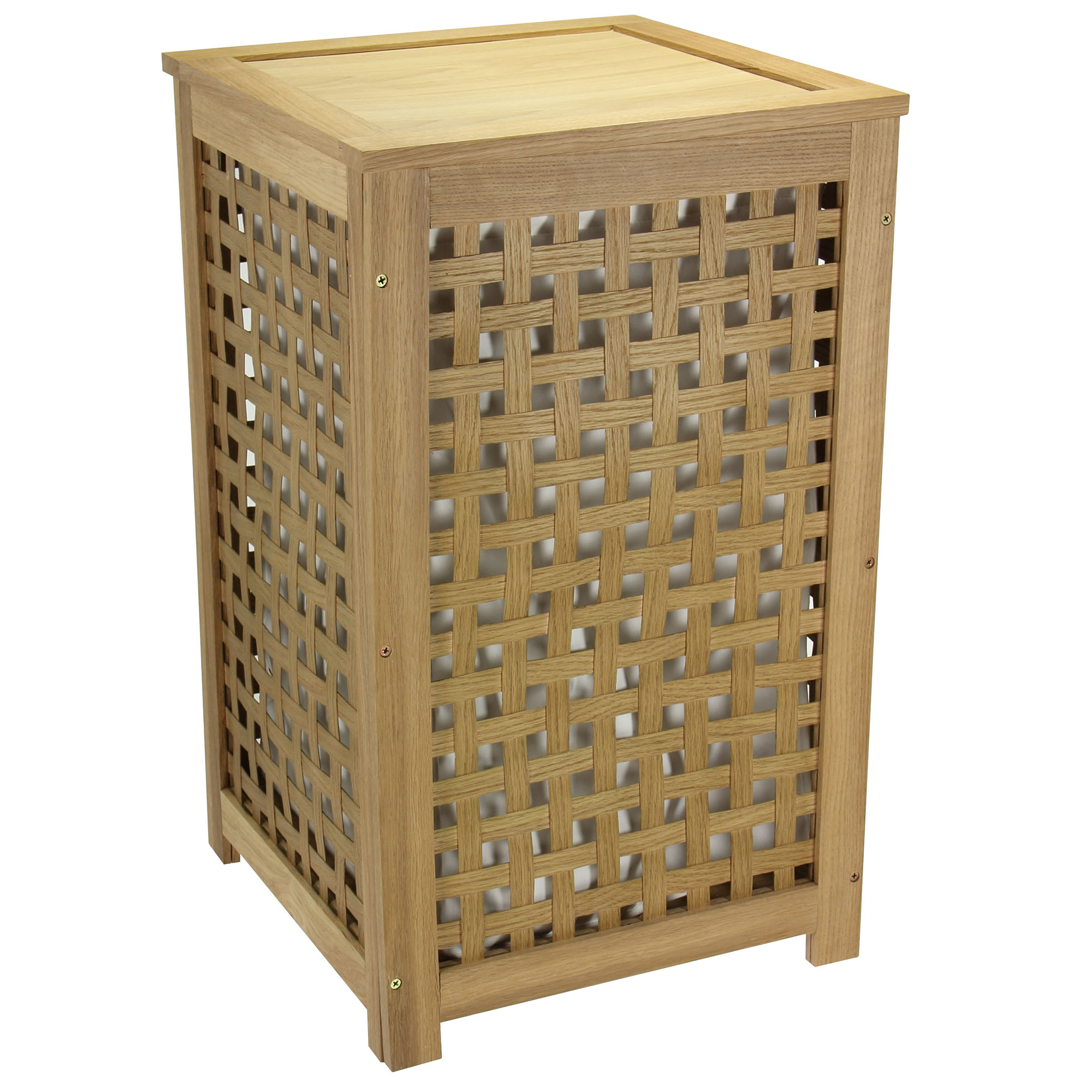 Oak Lattice Hamper with Barnwood Finish