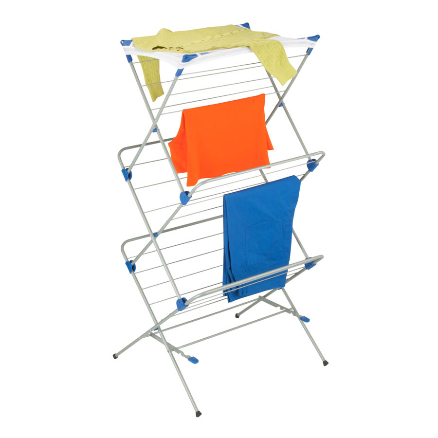 3-tier Mesh Top Drying Rack, Silver with Blue
