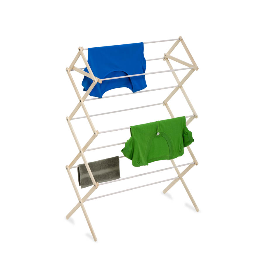 Natural Wooden Clothes Drying Rack