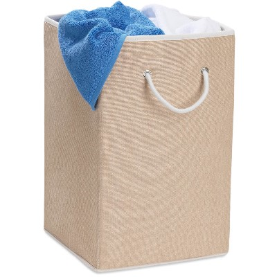 Square Resin Weave Hamper with Rope Handles, Natural