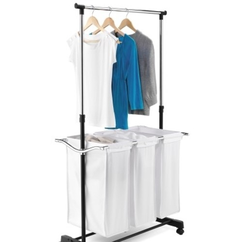 3 Bag Laundry Sorter with Adjustable Hanging Bar