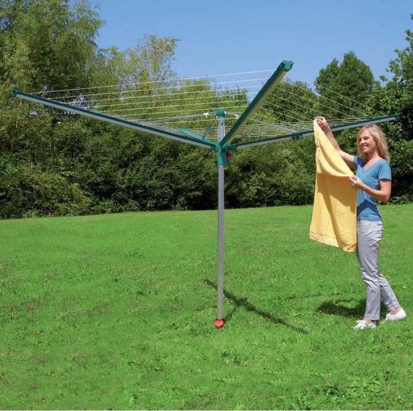 Leifheit Outdoor Linomatic 500 Deluxe with 164ft Rotary Clothesline