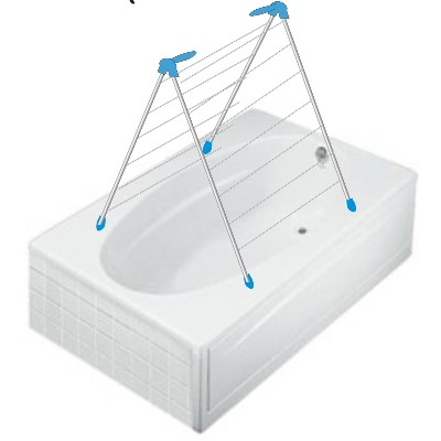 Moerman Indoor Overbath Clothes Drying Rack