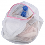 Lingerie Wash Bag - White Polyester with 2 Blue PVC Washer Balls